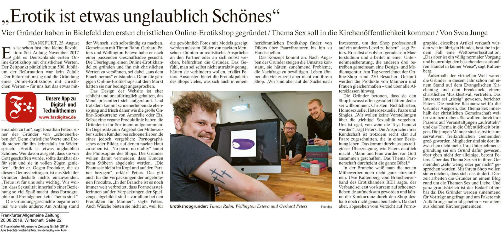 Frankfurter Allgemeine Zeitung schönerlieben Artikel